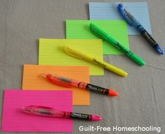Color-coordinated index cards & highlighters can simplify complex assignments! (blog post with detailed color-coding how-to's)