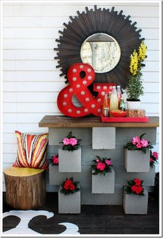 Love the cinder block garden