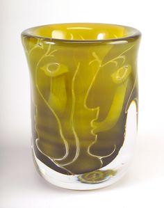 "Ingeborg Lundin, (Swedish, 1921-1992), Kosta, ""Ansikten"" Ariel Glass Vase."