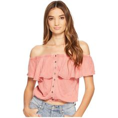 Free People Love Letter Tube Top (Coral) Women's Sleeveless (76 AUD) ❤ liked on Polyvore featuring tops, off shoulder tops, crop tube top, short sleeve crop top, free people tops and red top