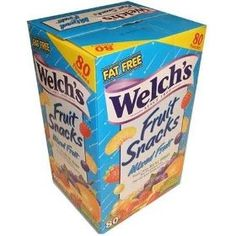 Welch's Fruit Snacks, Mixed Fruit, Fat Free Snacks, (80-0.9oz. Pouches Per Box), (fruit snacks, fruit snack, welchs fruit snacks, gummy candies, food, fruit candy, snacks, non-vegetarian, chewy, gummy)