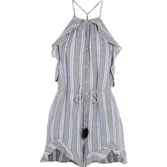 Zimmermann Zephyr ruffled cotton and linen-blend playsuit (1,445 PEN) ❤ liked on Polyvore featuring jumpsuits, rompers, dresses, blue, halter neck jumpsuit, romper jumpsuit, blue jumpsuit, blue rompers and striped romper