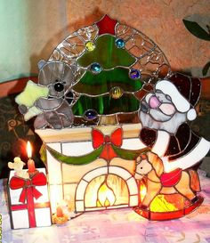 Stained glass snowman christmas winter scene table lamp night light santa at the fireplace aloadofball Images