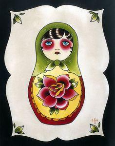 Little Babushka Tattoo Flash Print
