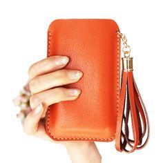 Handmade Leather Phone case in Orange /  by CrazyLeatherBag