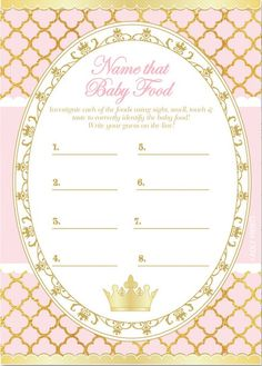 BABY SHOWER~baby food game