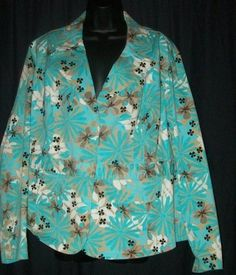 $15.99   Cato Blue Floral Cotton Stretch Light Weight Jacket 18/20W