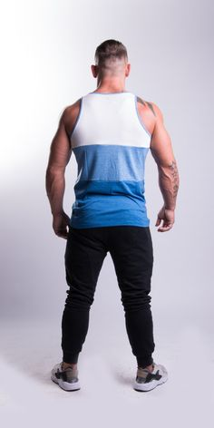 Blue Tricolour Tank Top - EconomicShopping Yoga Gym, Printing Labels, Gym Wear, Color Combinations, Tank Man, Sporty, Tank Tops, Fitness, Model