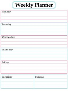 Printable weekly planner skip to my lou weekly planner weekly planner printable nice simple clean lines pronofoot35fo Images