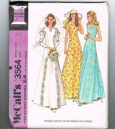 1970s Wedding Dress Pattern, Bridesmaid Dress Pattern, Keyhole Neckline, Cap Sleeves, Simple Wedding Dress, McCalls 3564, Size 14 Bust 36 In