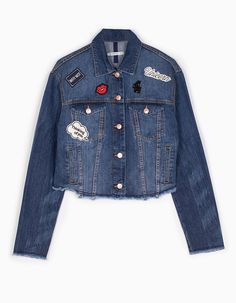 At Stradivarius you'll find 1 Cropped denim jacket with patches for woman for just 29.95 € . Visit now to discover this and more JACKETS.