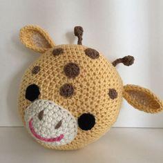 Hand made crochet cuscino giraffa Esso misura circa 14 diametro Pesa circa mezzo chilo Altri formati possono essere disponibili come un ordine personalizzato