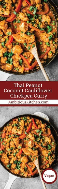Flavorful Thai peanut coconut cauliflower chickpea curry is packed with bold flavors and plant-based protein. Make this cozy, vegetarian dish in one pan for the perfect weekday meal! This recipe is sponsored by McCormick Spices. #ad #veganfood #vegetarian #curry #glutenfreerecipes #healthyrecipes #dinnerrecipes