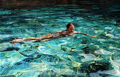 """Saatchi Online Artist: Mark Cross; Oil, 2010, Painting """"Swimming in Cyan Champaign"""""""