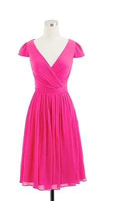 J. Crew bridesmaid dress  -  Pink bridesmaid dress: J. Crew -  A-line, V-neck chiffon dress with cap sleeves, style 66737, $265, J.Crew