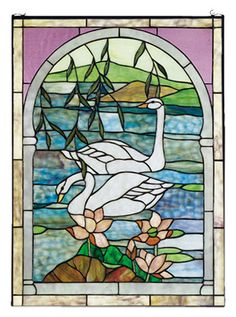 Meyda Tiffany Tiffany Swans Stained Glass Window & Reviews | Wayfair