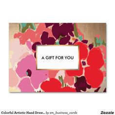 Colorful Artistic Hand Drawn Floral Gold Gift Card   Gift Certificate Large Business Cards (Pack Of 100)  Great little gift card for beauty and fashion professionals.