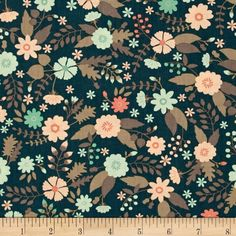 Flourish Floral Dark Teal from @fabricdotcom  Designed by Ciana Bodini, for Camelot Fabrics. This fabric is perfect for quilting, apparel and home decor accents. Colors include shades of teal, peach, mint and taupe.