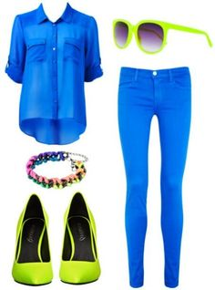 summer/spring. So amazing! blue and neon go hand in hand.