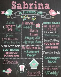 First Birthday Chalkboard Printable Poster bird theme / Baby Girl / 1st Birthday .pdf or .jpeg by RusticRosebudDesigns on Etsy https://www.etsy.com/listing/197777217/first-birthday-chalkboard-printable