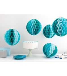 Martha Stewart Tissue Paper Honeycomb Decor-Blue Ombre