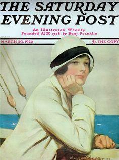 Underwood, Clarence F (b,1871)- Woman Sailing- 'Sat Eve Post' Mar. 1926