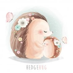 Mommy and baby hedgehog hugging together Premium Vector Illustration Mignonne, Cute Illustration, Hedgehog Illustration, Cute Animal Drawings, Cute Drawings, Baby Cartoon, Cute Cartoon, Cartoon Mignon, Elephant Background