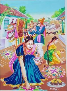 Art Village, Village Scene Drawing, Indian Village, Indian Women Painting, Indian Art Paintings, Oil Paintings, Abstract Paintings, Art Sketches, Art Drawings
