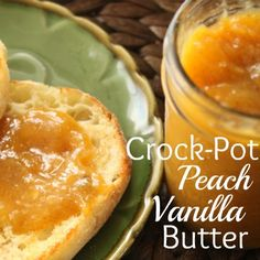 Crock-Pot Peach Vanilla Butter - Take advantage of fresh seasonal peaches and put some up for later with this delicious crock-pot peach vanilla butter recipe! Spread on toast or an English muffin or s(Butter Recipe Mouths) Brownie Desserts, Mini Desserts, Slow Cooker Recipes, Crockpot Recipes, Freezer Recipes, Healthy Recipes, Coconut Dessert, Jam And Jelly, Crock Pot Cooking