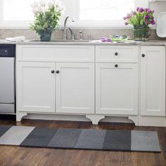 Kitchen Cabinet Makeover, Part I: Beefing Up Bland Base Cabinets Kitchen Rug, New Kitchen, Kitchen Design, Kitchen Runner, Kitchen Carpet, Kitchen Ideas, Kitchen Floor, Kitchen Inspiration, Kitchen Interior
