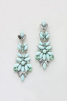 Marquise Chandelier Earrings in Cool Mint on Emma Stine Limited Pretty! Jewelry Box, Jewelry Accessories, Fashion Accessories, Jewelry Necklaces, Jewlery, Gold Jewelry, Fashion Earrings, Fashion Jewelry, Women's Fashion