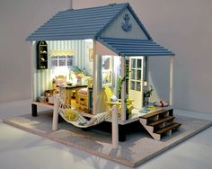 Miniature Dollhouse DIY Kit Beach House with Voice Control Light and Music Box