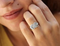 Gold Wedding Band Double Infinity Knot Ring by SillyShinyDiamonds