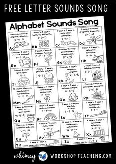 Letter Sounds Poster for teaching letter sounds with daily practice. Teach letter sounds and phonics using these letter sounds videos and lessons. Lots of ideas to teach letter sounds in kindergarten or first grade. Kindergarten Songs, Preschool Songs, Preschool Literacy, Preschool Letters, Letter Activities, Preschool Lessons, Teaching Kindergarten, Teaching Reading, Teaching Kids