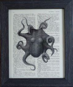 Octopus print on an vintage french dictionary page, dictionary print for your wall 8x10. $8.95, via Etsy.