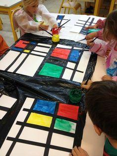In der art von Mondrian . Piet Mondrian, Mondrian Dress, Kindergarten Art, Preschool Art, Mondrian Art Projects, Art Montessori, Art For Kids, Crafts For Kids, Famous Artists Paintings