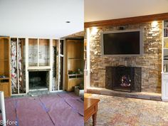 Updating an old fireplace with stone veneer and a flat screen TV.  Installation was done without a mortar joint.