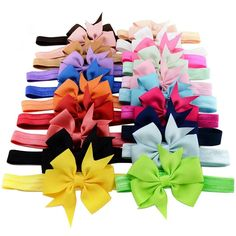 Amazon.com: 20pcs/lot 3 Inch Cute Kids Baby Girls headband Toddler Infant Chiffon Bowknot Headbands Solid Color Hair Bows Hair Band Accessories Christmas Gift