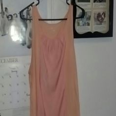 Peach tank Pretty peach colored top, two different fabrics, rayon/polyester, very soft, very classy. Gently used, great buy! Merona Tops Tank Tops