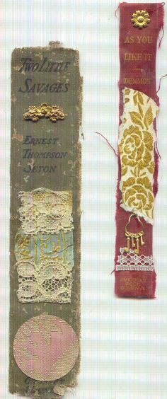 Book spine bookmarks   http://www.ebay.com/itm/SET-OF-2-BOOK-SPINE-BOOKMARKS-FROM-VINTAGE-BOOKS-/150786283577?pt=Art_Mixed_Media=item231b901839#ht_500wt_1202