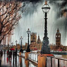 The rain, South Bank, and London skyline...how very British!