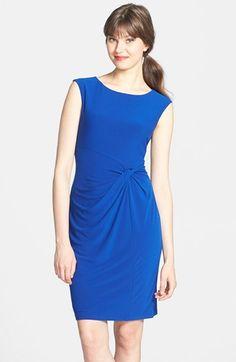 16893f548f9 Ellen Tracy Knot Waist Stretch Crepe Sheath Dress (Petite)