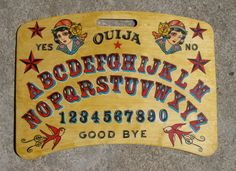 Vintage colourful ouija board with girls and swallows. Ouija Table, Weegee, Witch Board, Magick Spells, Tarot Cards, Macabre, Occult, Diy And Crafts, Boards