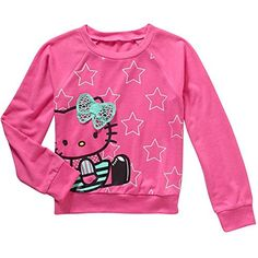 Hello Kitty Girls Long Sleeve Pullover Fashion Top (XS (4/5)). Long sleeve hatchi pullover top. Polyester/spandex. Lightweight and soft fabric.