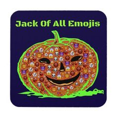 Halloween Funny Emoji Pumpkin Face Drink Coaster - thanksgiving day family holiday decor design idea