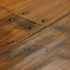 hand scraped walnut wide plank hardwood flooring with wooden pegs