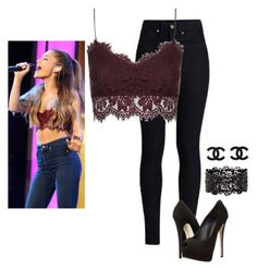 """""""ariana grande inspired outfit,steal her style"""" by coronel-yesenia ❤ liked on Polyvore featuring Rodarte, Topshop and Giuseppe Zanotti"""