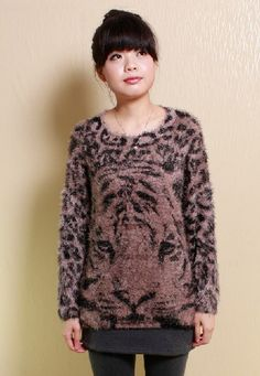 Tiger Print Fluffy jumpers,  white brown Tiger Print Fluffy pullover sweater, round neck loose mink hair sweater for you #Tiger #Print #Fluffy #jumpers www.loveitsomuch.com