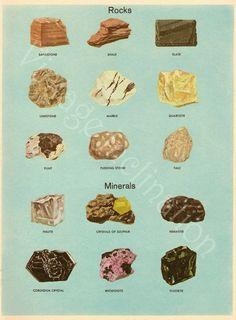Vintage Print MINERALS CHART Plate 5, vintage precious gem stones illustrations. $8.00, via Etsy.