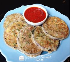 Paleo Breaded Eggplant Recipe with Marinara Dipping Sauce - paleocupboard.com